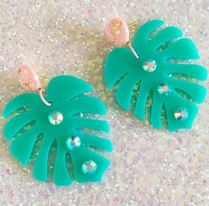 Image of Monstera Sparkle Paradise Earrings - Teal/Pink