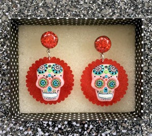 Image of Day of the Dead Fiesta Earrings - Pink Skull/Red
