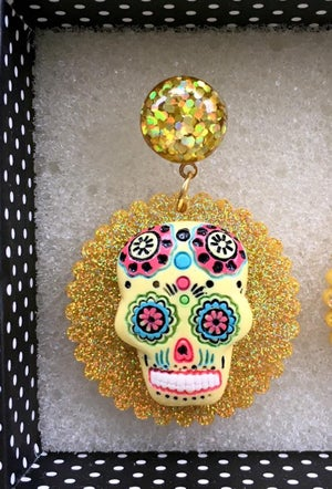 Image of Day of the Dead Fiesta Earrings - Yellow Skull/Gold
