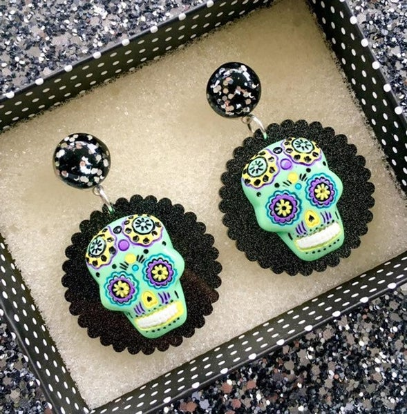 Image of Day of the Dead Fiesta Earrings - Green Skull/Black