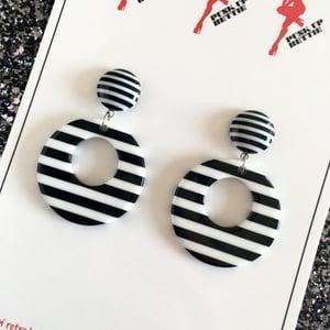 Image of Vintage Stripes Galore Hoop Earrings - Black