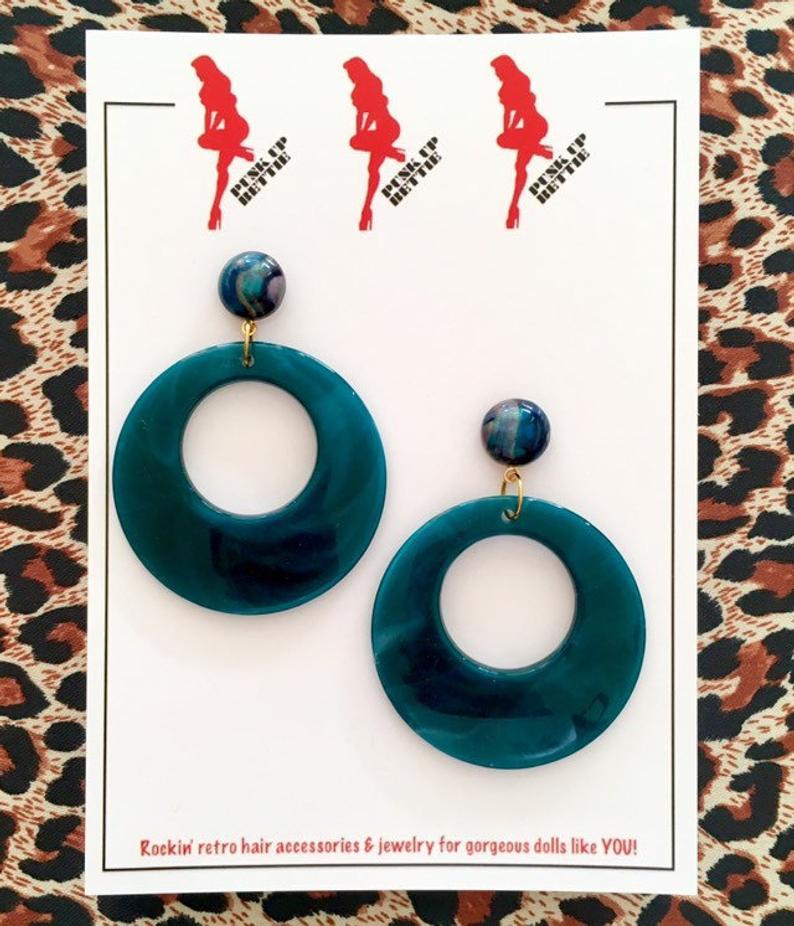 Image of Vintage Bombshell Hoop Earrings - Teal
