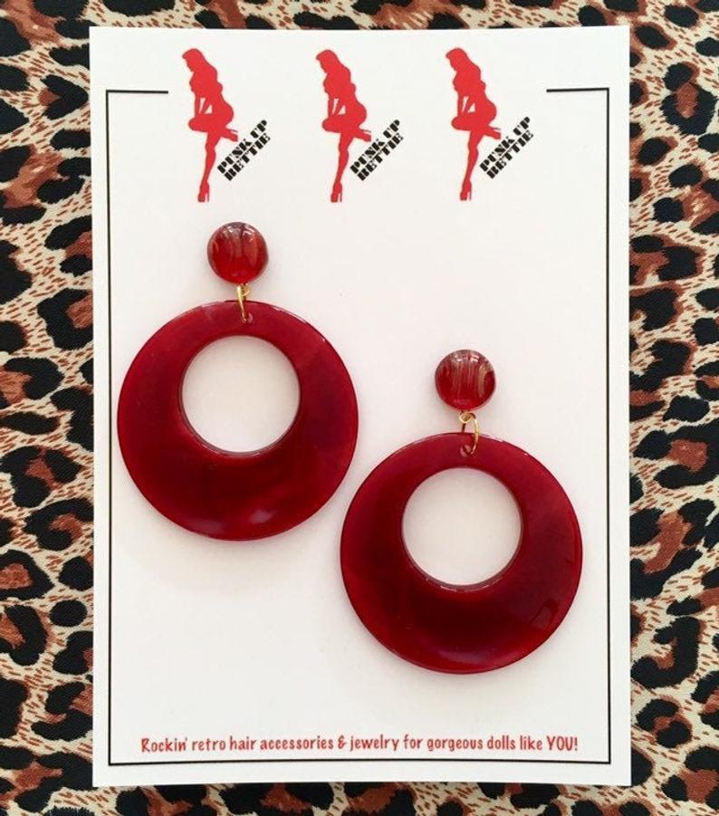 Image of Vintage Bombshell Hoop Earrings - Burgundy Red