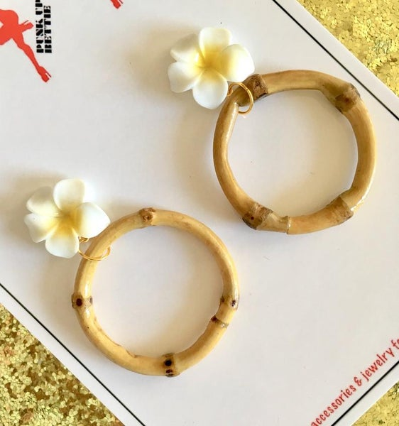 Image of Tropical Bamboo Boogie Hoop Earrings - Yellow - Large Plumeria