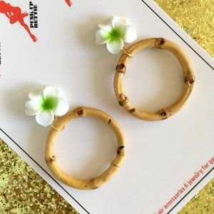 Image of Tropical Bamboo Boogie Hoop Earrings - Yellow - Large Plumeria