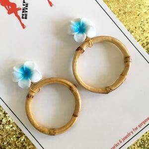 Image of Bamboo Boogie Hoop Earrings - Orange - Large Plumeria
