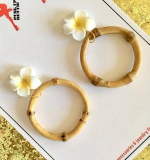Image of Bamboo Boogie Hoop Earrings - Blue - Large Plumeria