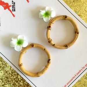 Image of Bamboo Boogie Hoop Earrings - Hot Pink - Large Plumeria