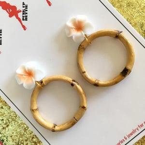 Image of Bamboo Boogie Hoop Earrings - Green - Large Plumeria