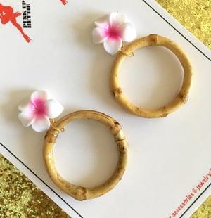 Image of Bamboo Boogie Hoop Earrings - Pink - Large Plumeria