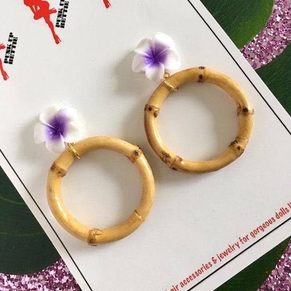 Image of Bamboo Boogie Hoop Earrings - Purple - Large Plumeria