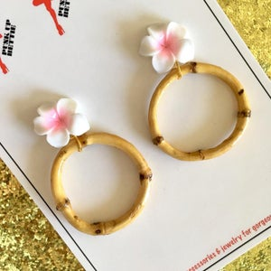 Image of Bamboo Boogie Hoop Earrings - Mint Green - Large Plumeria