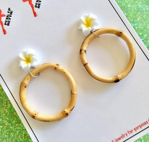 Image of Tiki Tropical Bamboo Boogie Baby Earrings - Orange