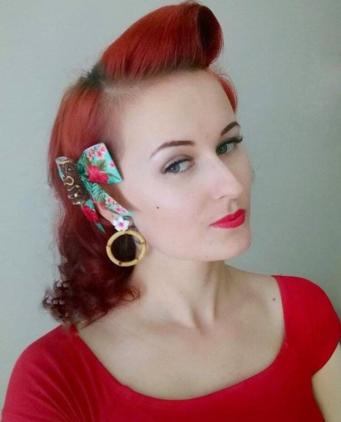 Image of Tiki Tropical Bamboo Boogie Baby Earrings - Hot Pink