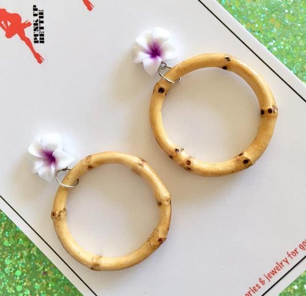 Image of Tiki Tropical Bamboo Boogie Baby Earrings - Purple
