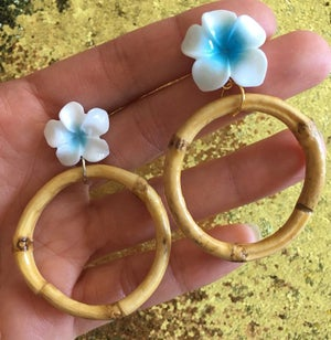 Image of Tiki Tropical Bamboo Boogie Baby Earrings - Blue