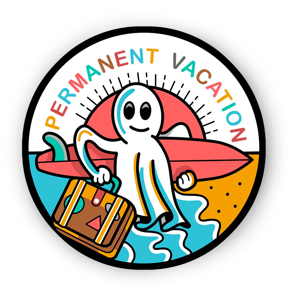 Image of Permanent Vacation Ghost sticker by buenas olas