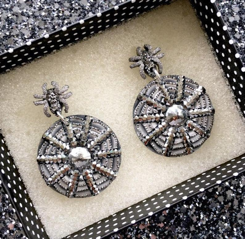 Image of  I Put A Spell On You Earrings - Gunmetal/Spider