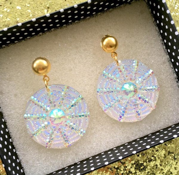 Image of Spiderweb I Put A Spell On You Earrings - Iridescent White/Gold