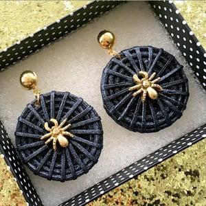 Image of Tiki Voodoo Spider Earrings - Black/Silver