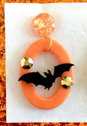 Image of Batty Dreadful Earrings - Pumpkin Orange