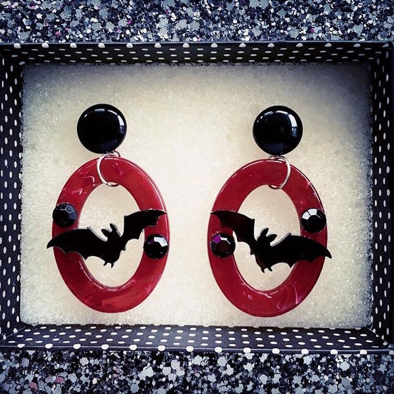 Image of Batty Dreadful Earrings - Vampire Red