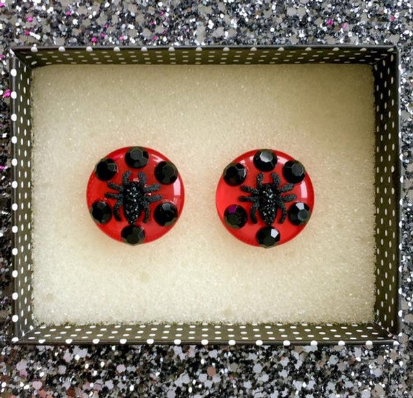 Image of Arachno Fabulous Spider Earrings - Red/Black