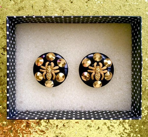 Image of Arachno Fabulous Spider Earrings - Black/Gold