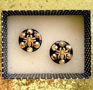 Image of Arachno Fabulous Spider Earrings - Black/Gold