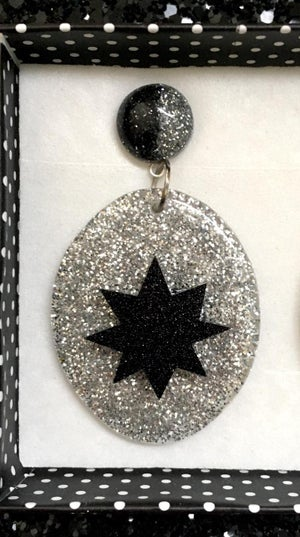 Image of Atomic Sparkle Baby Earrings - Silver/Black