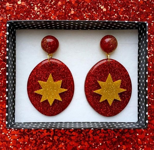 Image of Atomic Sparkle Baby Earrings - Red/Gold