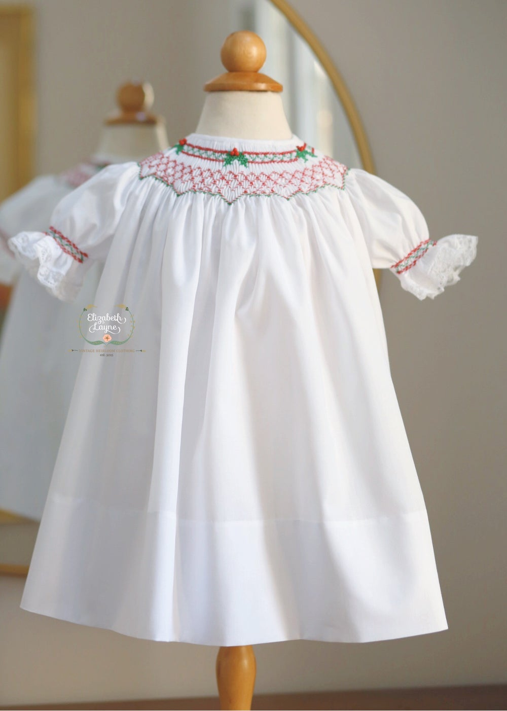 Image of Hand Smocked Holly Berry Bishop