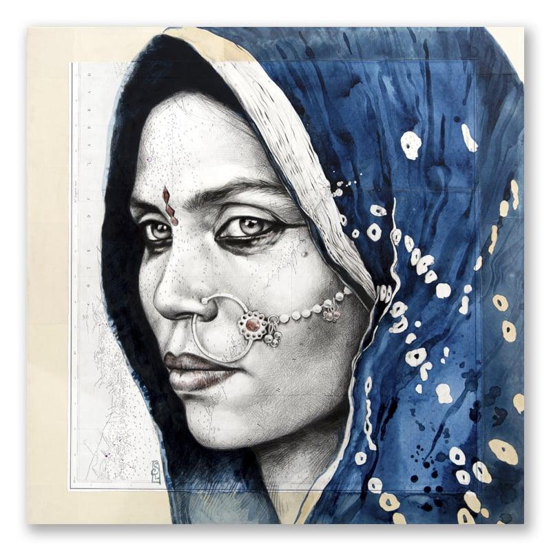"Image of Canva Art Print - ""Papu en indigo"""