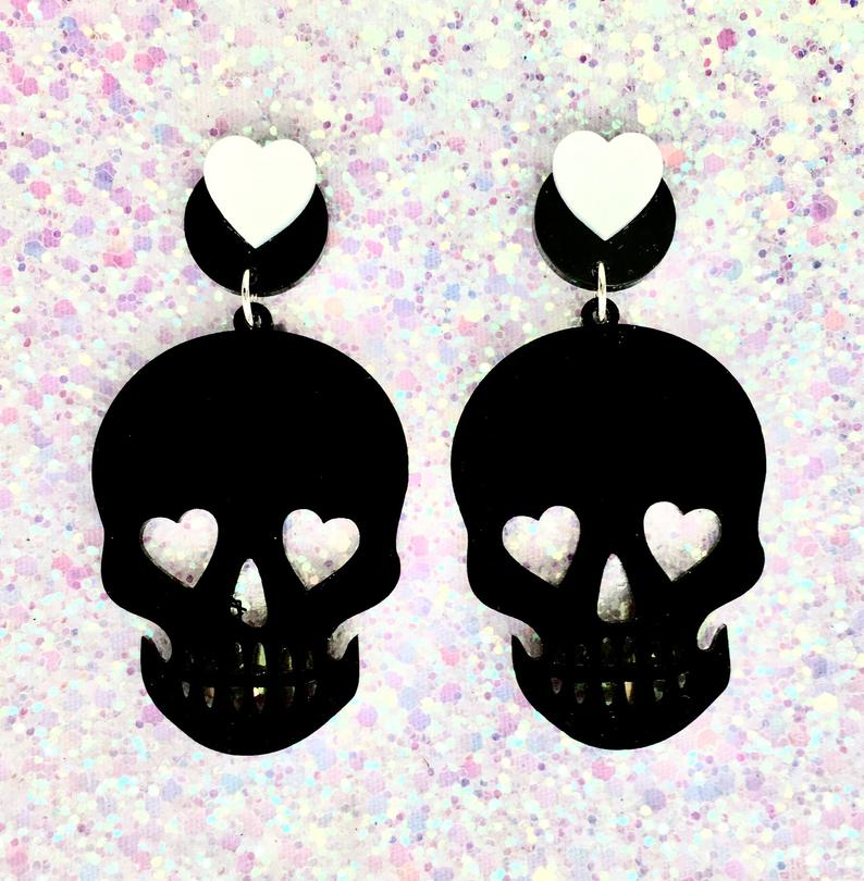 Image of 5 Colors - Necromance Skull Romance Earrings