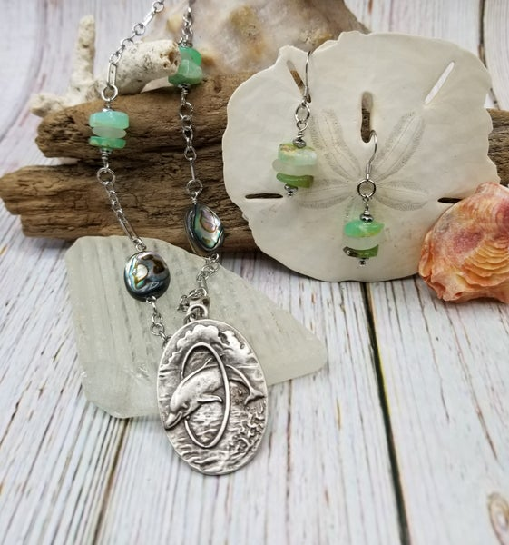 Image of Sea Glass-Chrysoprase- Abalone- Dolphin- Necklace Earrings- #260