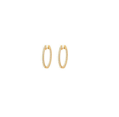 Image of 14kt and Diamond Inside and Out Hoops (15mm, 20mm and 25mm)
