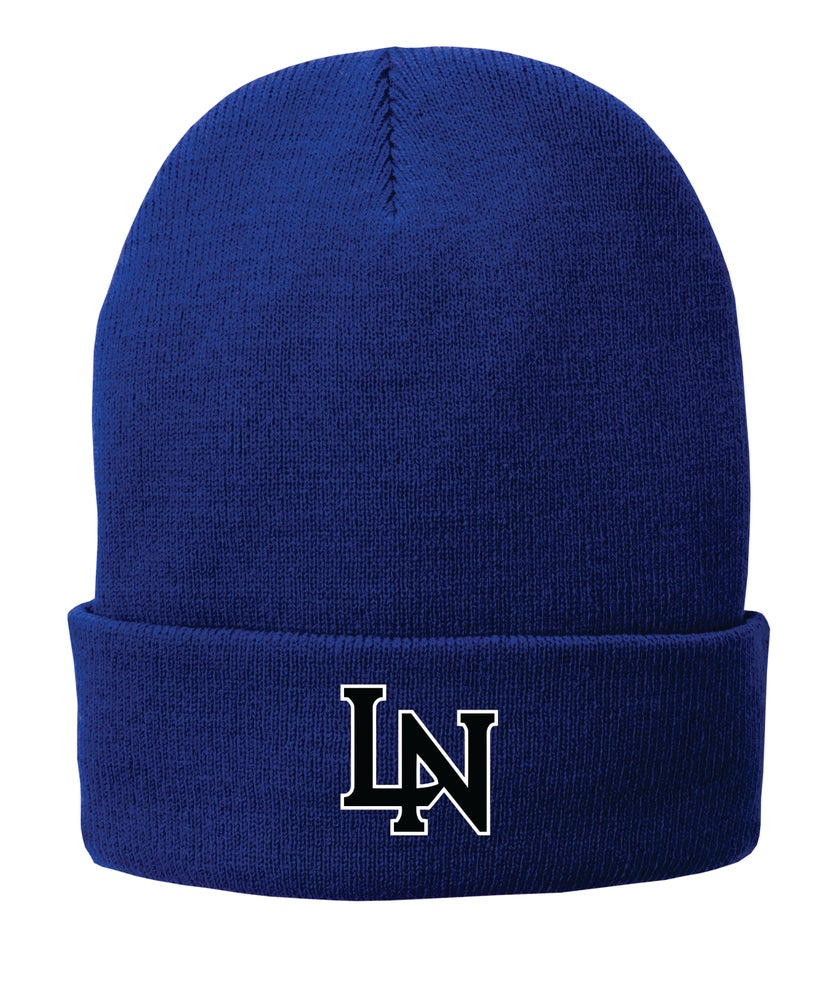 Image of Embroidered knit cap - Royal or White