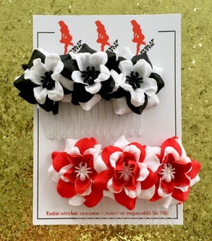 Image of Spooky Spider Baby Flower Hair Comb - Red/White