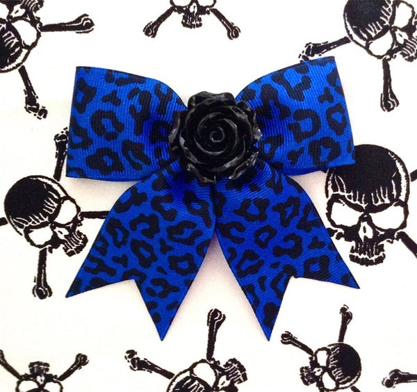 Image of Hellcat Rosie Leopard Hair Bow - Electrifying Blue