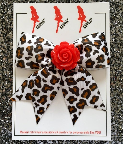 Image of Psycho Rosie White Leopard Hair Bow