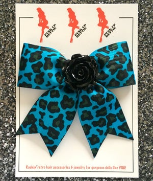 Image of Psycho Rosie Red Rage Leopard Hair Bow