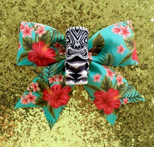 Image of Tiki Tropical Dream Hair Bow - White Tiki