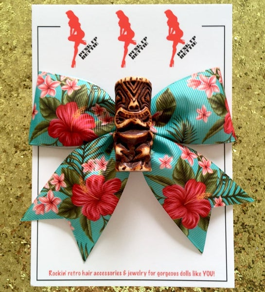 Image of Tiki Tropical Dream Hair Bow - Brown Tiki