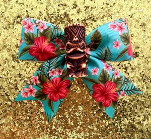 Image of Tiki Tropical Dream Hair Bow - Brown Tiki