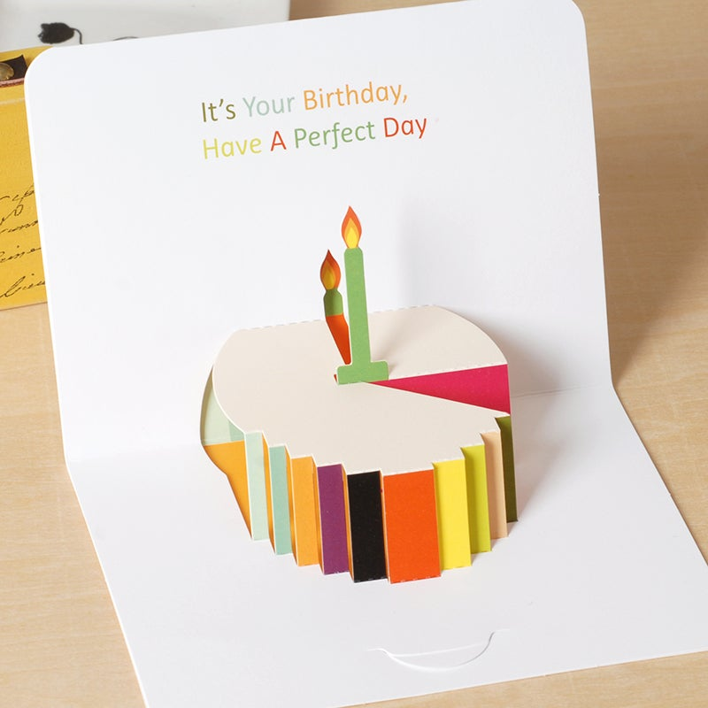 Image of Cute Birthday Cake Popup Card for Birthday A6