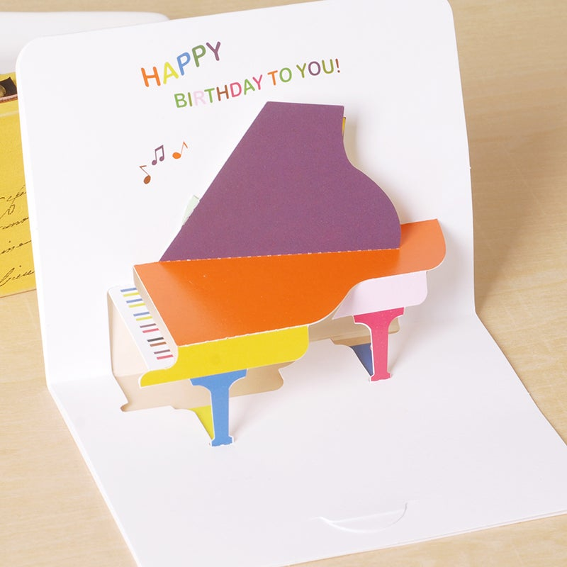 Image of Cute Piano Popup Card for Birthday A6