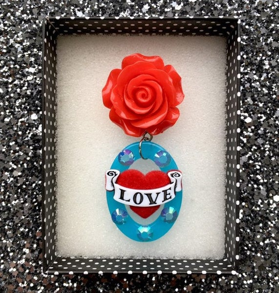 Image of Rockabella Rosie Love Hearts Brooch