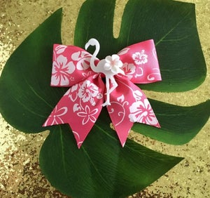 Image of Tropical Flamingo Paradise Hair Bow - Pink