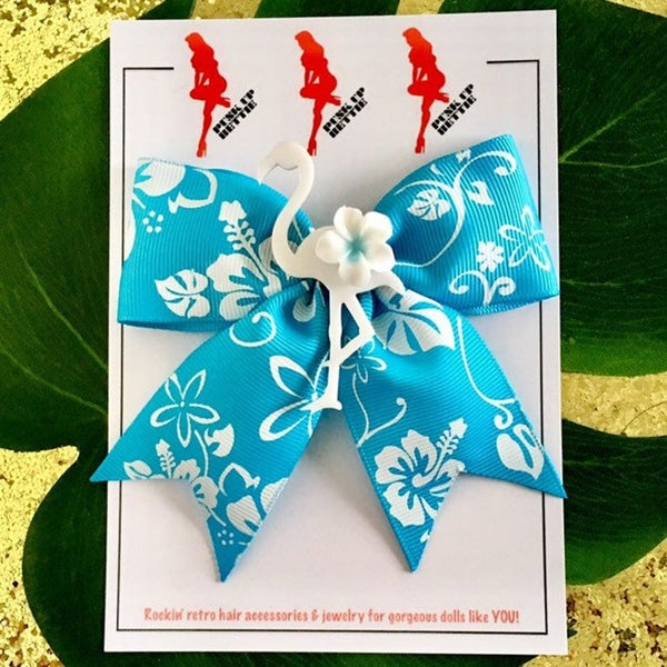 Image of Tropical Flamingo Paradise Hair Bow - Turquoise