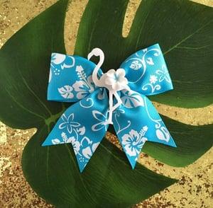 Image of Tropical Flamingo Paradise Hair Bow - Turquoise